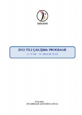2012 Yılı Çalışma Programı