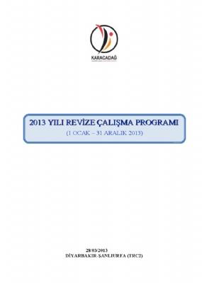 2013 Yılı Çalışma Programı