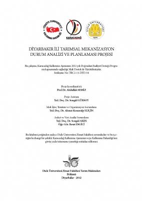 Diyarbakır İli Tarımsal Mekanizasyon Durum Analizi ve Planlaması Projesi