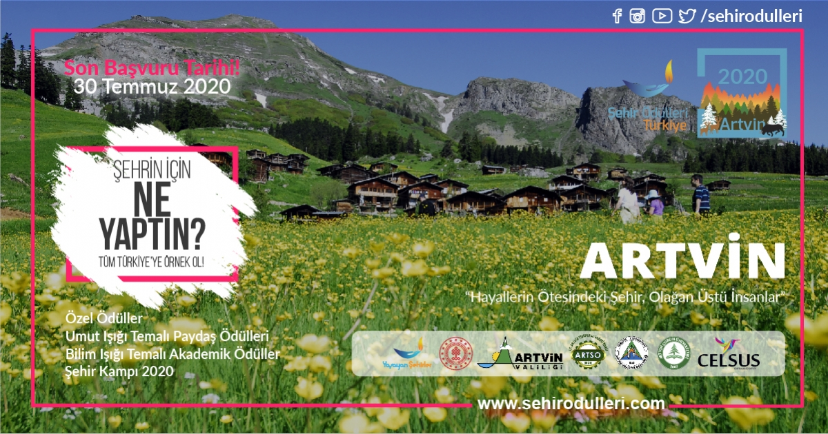 """Şehir Ödülleri Türkiye 2020 """" Artvin """" Başvuruları 30 Temmuz'da Bitiyor!"""