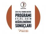 2018 Yılı Teknik Destek Programı Eylül-ekim Dönemi Değerlendirme Sonuçları