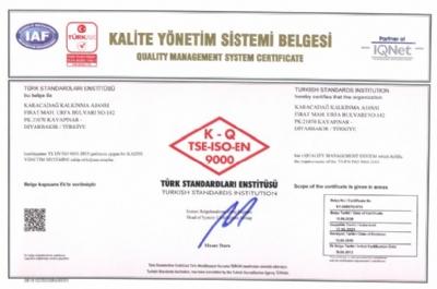 ISO 9001 Kalite Yönetim Sistemi Belgesi