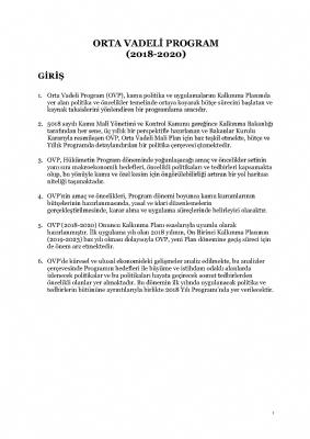 Orta Vadeli Program (2018-2020)